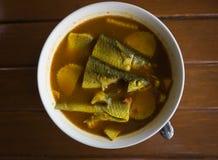 酸汤由与罗非鱼的罗望子树浆糊制成或 免版税库存照片