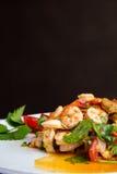 酸辣的沙拉热和 泰国的食物 免版税库存图片