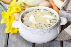 酸黑麦汤由变酸的黑麦面粉和肉制成 免版税图库摄影