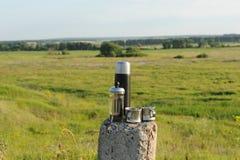 酿造在法国人的供选择的咖啡压入自然 国家夏天风景 库存照片