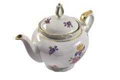 酿造查出的瓷茶壶白色 库存照片