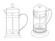酿造茶、玻璃和金属的法国新闻 黑白等高传染媒介例证 免版税库存照片