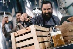 酿酒者测试啤酒 在酿酒者背景的啤酒杯  女傧相 新娘 啤酒制作 库存图片