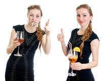 醉酒和清醒的妇女之间的区别。 免版税图库摄影