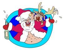 醉酒的圣诞老人和鹿 免版税库存照片