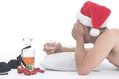 醉酒的圣诞老人 免版税库存图片