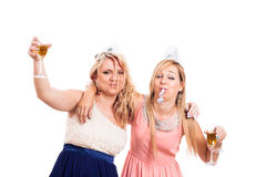 醉酒的女孩庆祝 库存图片