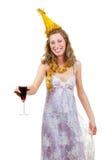 醉酒的女孩玻璃酒 免版税图库摄影