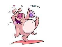 醉酒的猪 向量例证