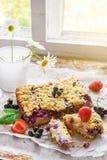 黑醋栗、草莓和村庄碎屑在烘烤纸和土气背景结块 库存照片