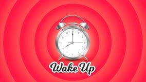 醒 与敲响的闹钟的传染媒介完善的概念性例证在红色背景 免版税库存照片