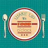 醒 它是食物时 行情印刷背景 免版税库存照片