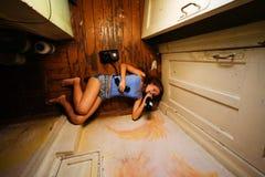 醺酒的妇女 图库摄影