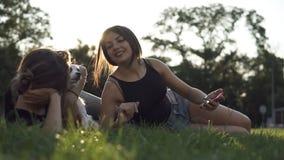 采取与智能手机的两个女性朋友室外画象selfie 两个女朋友获得乐趣在有a的一个公园 股票录像
