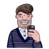 采取与他的手机的动画片人自画象 免版税库存照片