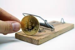 采取从捕鼠器的bitcoin的手 免版税库存图片