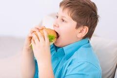 采取叮咬的胖的孩子乳酪汉堡 免版税库存照片