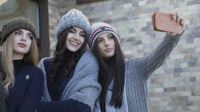 采取在围场的盖帽和围巾的三个俏丽的微笑的女孩selfie 股票录像