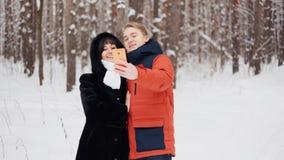 采取在慢动作的愉快的夫妇selfie 股票视频