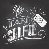 采取在黑板的一selfie 库存照片