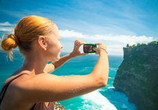 采取游人的照片 免版税库存图片