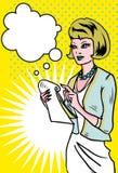 采取附注的女商人 免版税图库摄影