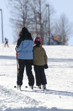 采取滑雪电缆车 库存照片