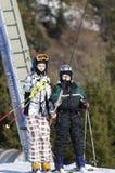 采取滑雪电缆车 库存图片