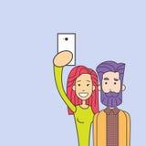 采取Selfie照片五颜六色的人妇女的行家夫妇拿着巧妙的电话 图库摄影