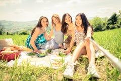 采取selfie用棍子的妇女在野餐 免版税库存照片
