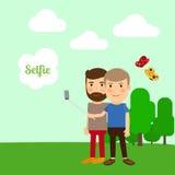 采取selfie的两个男孩 皇族释放例证