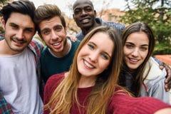 采取selfie的多种族小组朋友 库存照片