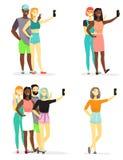 采取selfie的年轻变化人民导航平的例证 向量例证