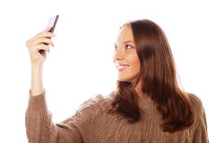 采取selfies的俏丽的妇女 库存照片
