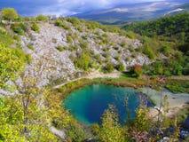 采廷娜河的来源在克罗地亚、美好,狂放的自然和cristal清楚的水,100多个m深洞中 免版税图库摄影