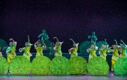 采摘女孩中国民间舞的茶 免版税图库摄影