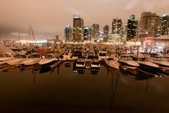 采煤港口和小船温哥华 库存照片