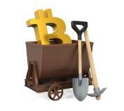采矿推车,镐,有Bitcoin标志的铁锹被隔绝的 免版税库存图片