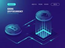 采矿bitcoin和ethereum隐藏货币,采矿服务器农厂室,显示卡,数据处理紫外等量 免版税库存照片