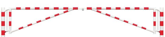 采空区内运输巷双交通障碍全景特写镜头,车行道在明亮的白色红色,词条中止块车安全点的门酒吧 免版税库存图片
