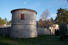 采蒂涅堡垒,黑山塔  库存图片