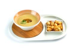 采蘑菇奶油色汤和薄脆饼干在被隔绝的白色背景 库存照片