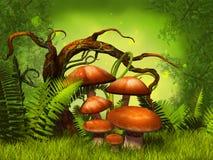 采蘑菇幻想森林 库存图片