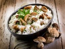 采蘑菇意大利煨饭 图库摄影