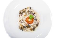 采蘑菇意大利煨饭 库存照片