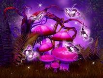采蘑菇幻想森林 免版税库存照片