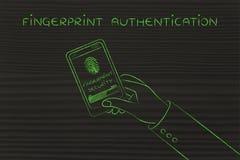 采认证,有扫描的智能手机屏幕的指纹在progr 免版税图库摄影