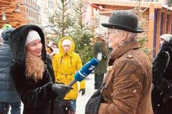 采访书柯南道尔的生日1月字符  免版税图库摄影