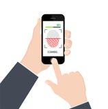 采证明或认证的指纹在智能手机在白色背景 也corel凹道例证向量 免版税库存图片