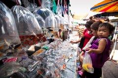 采购员购物在Chatuchak周末市场上 免版税库存图片